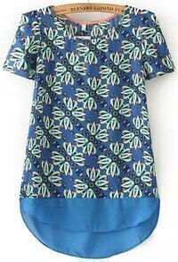 Blue Short Sleeve Floral Dip Hem Blouse