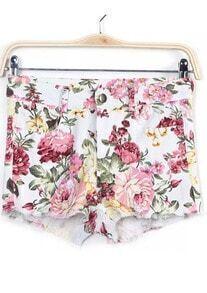 White Floral Fringe Denim Shorts