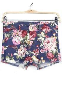 Blue Floral Fringe Denim Shorts