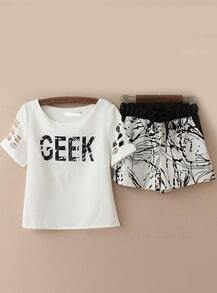 White Hollow Short Sleeve GEEK Print Top With Shorts