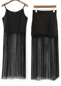 Black Spaghetti Strap Tassel Top With Skirt