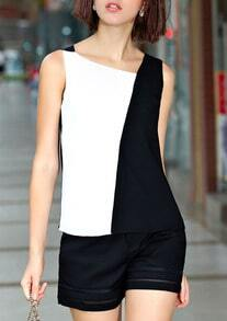 Color-block Sleeveless Slim Tank Top