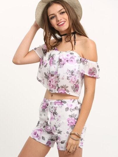 Multicolor Off The Shoulder Top With Florals Shorts