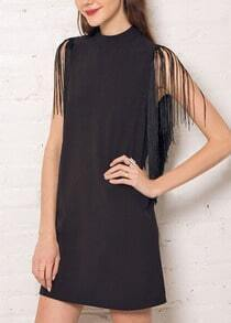 Black Stand Collar With Tassel A-Line Dress