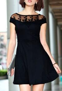 Black With Mesh Embroidered A-Line Dress