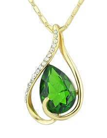 Hot Sale Elegant Gold Plated Green Rhinestone Pendant Stone Necklace