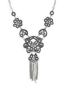 New Model Antique Silver Plated Flower Shaped Fashion Jewelry Necklace