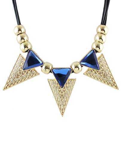 Elegant Style Blue Stone Women Chunky Triangle Necklace