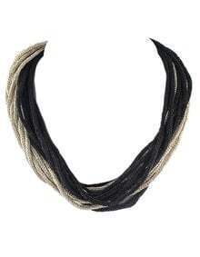 Braided Layers Silk Choker Necklace