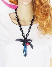 New Model Long Chain With Colored Glass Drill Ethnic Necklace