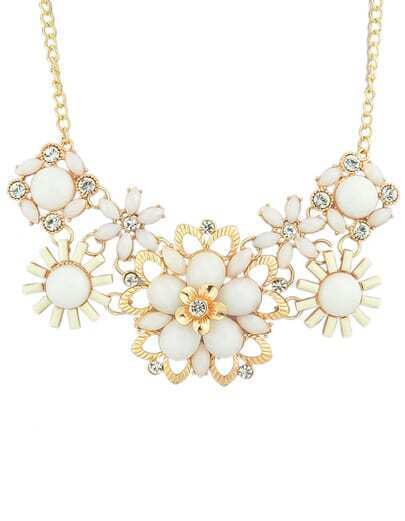 Beige Gemstone Shourouk Necklace