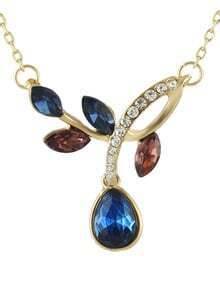 Cheap Elegant Colored Rhinestone Pendant Fashion Necklace Jewelry