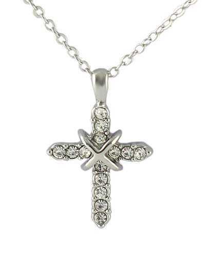 Hot Sale Beautiful Women Latest Rhinestone Cross Necklace
