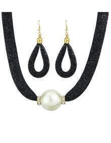 Costume Jewelry Net And Fake Pearl Fashion Women Jewelry Set