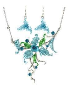 Costume Colorful Big Enamel Flower Jewelry Set
