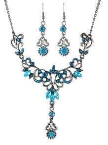 Costume Vintage Aulic Style Rhinestone Women Necklace Earrings Set