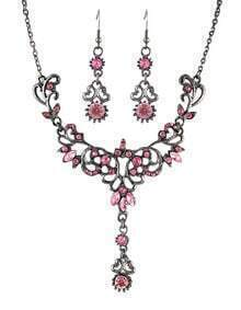 Pink Rhinestone Women Jewelry Set