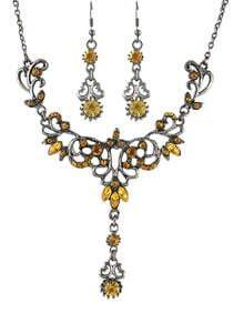 Yellow Rhinestone Women Jewelry Set