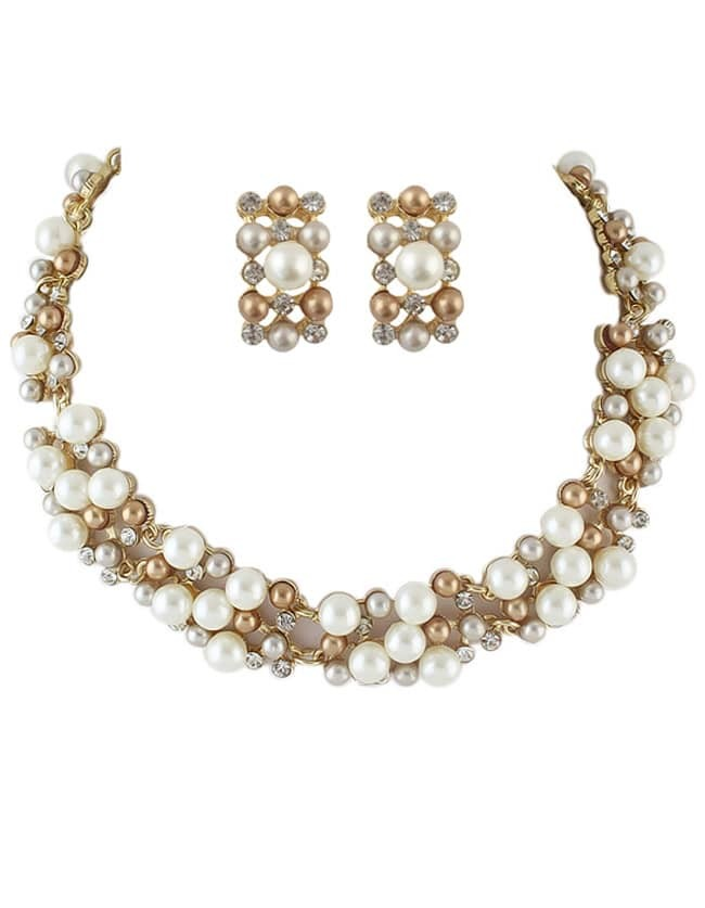 Фото Costume Jewelry Fake Pearl Women Necklace Earrings Set