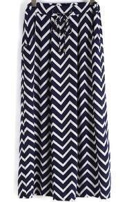 Navy Drawstring Zigzag Print Skirt