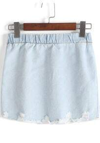 Light Blue Elastic Waist Ripped Denim Skirt