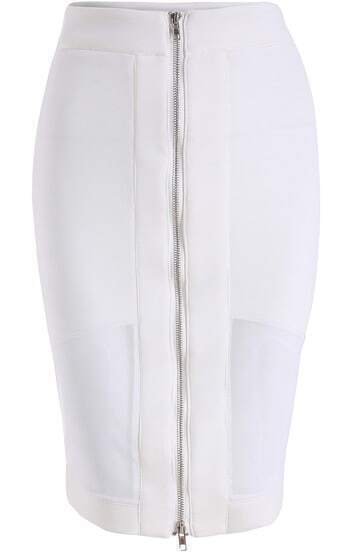 White Zipper Mesh Skirt