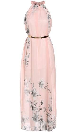 Vestido halter flores gasa maxi-rosa