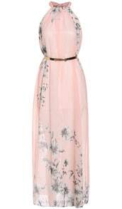 Pink Blush Halter Floral Chiffon Maxi Dress