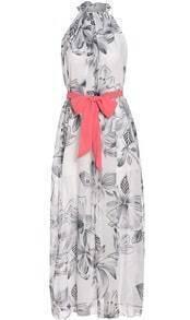 White Halter Tie-Waist Floral Maxi Dress