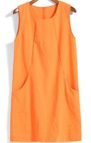 Orange Round Neck Sleeveless Pockets Tank Dress