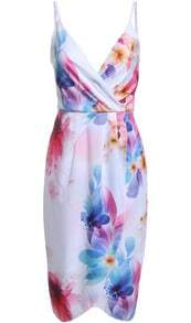 Multicolor Dyed Spaghetti Strap Painted Floral Chiffon Dress