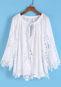 White Knotted Collar Embroidered Loose Blouse