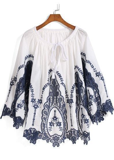 White Blue Knotted Collar Embroidered Loose Blouse
