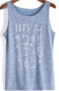 Purple Round Neck Letters Print Loose Tank Top