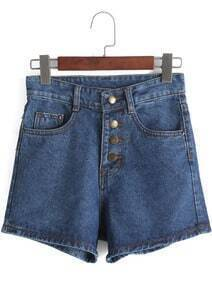 Navy High Waist Buttons Denim Shorts