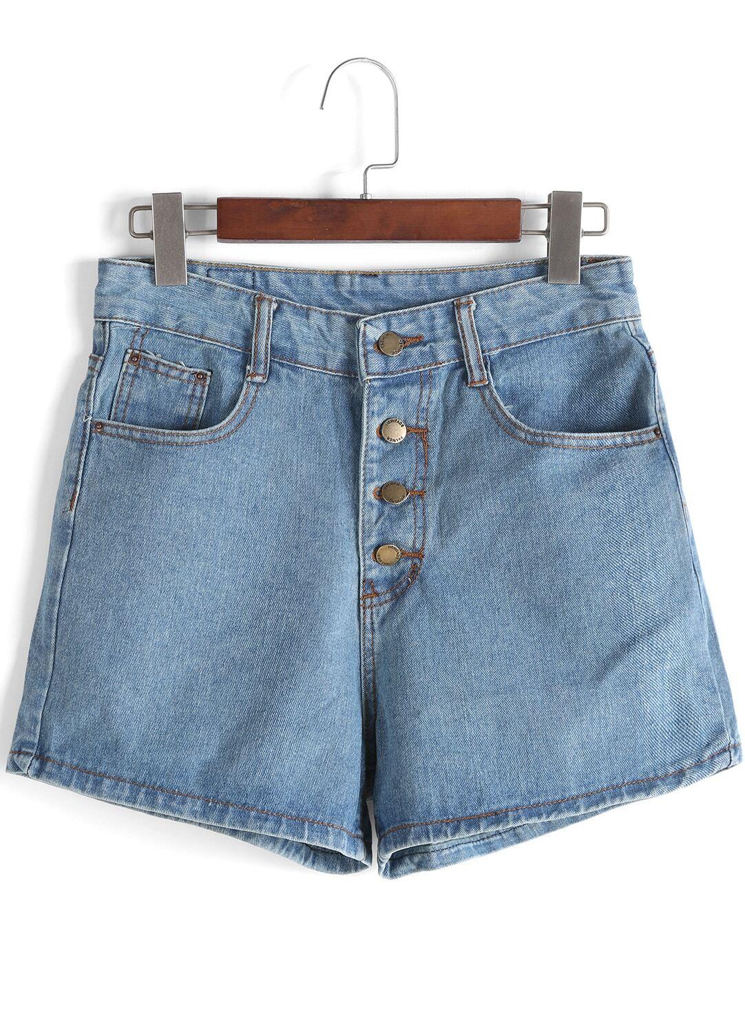 Blue High Waist Buttons Denim Shorts