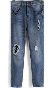 Navy High Waist Vintage Ripped Denim Pant