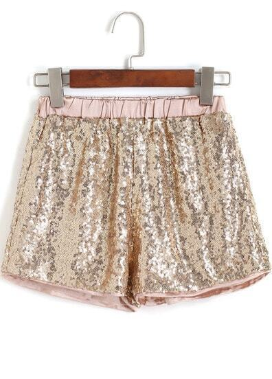 Gold Elastic Waist Sequined Shorts