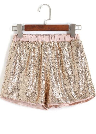 Gold Elastic Waist Sequined Shorts