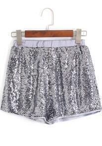 Silver Elastic Waist Sequined Shorts