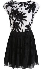 White Coconut Tree Print Top With Black Skirt