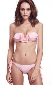 Neon Pink V Wire Ruffle Bandage Bikini Set