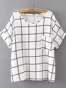 White Black Short Sleeve Plaid Pocket T-Shirt