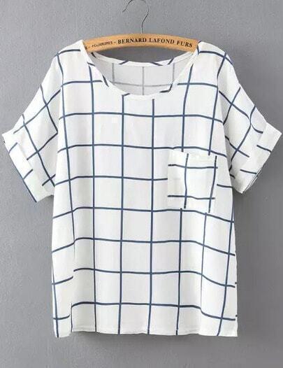 White Blue Short Sleeve Plaid Pocket T-Shirt