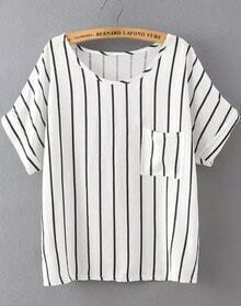 White Short Sleeve Vertical Stripe Pocket T-Shirt