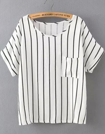 White Short Sleeve Vertical Stripe Pocket T-Shirt