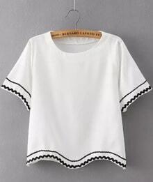 White Short Sleeve Peplum Trims Crop T-Shirt