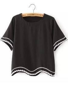 Black Short Sleeve Peplum Trims Crop T-Shirt