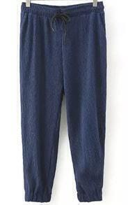 Navy Drawstring Waist Pleated Pant