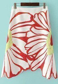 White Sunflower Print Skirt